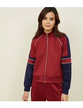 Burgundy Pipped Stripe High Shine Jacket by New Look