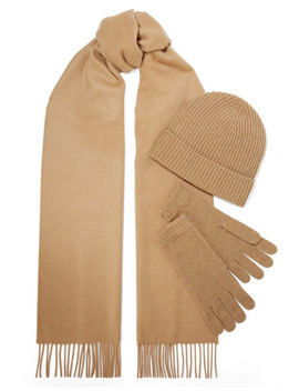 Cashmere Scarf, Beanie And Gloves Set by Johnstons Of Elgin
