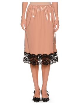 Patent Faux Leather A Line Skirt W/ Lace Trim by No. 21