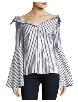 Persephone Button Front Striped Poplin Blouse by Neiman Marcus