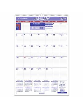 "At A Glance 2019 Monthly Wall Calendar, 15 1/2"" X 22 3/4"", Large, Wirebound (Pm328) by At A Glance"