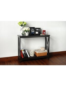 Espresso Finish 2 Tier X Design Occasional Console Sofa Table Bookshelf by E Home Products
