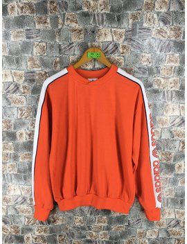 Adidas Run Dmc Sweatshirt Medium Vintage 80s Adidas Trefoil Big Logo Orange Jumper Hip Hop Adidas Hoodie Pullover Sweater Size M by Etsy