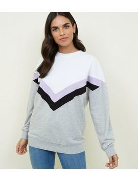Lilac Chevron Colour Block Sweatshirt by New Look