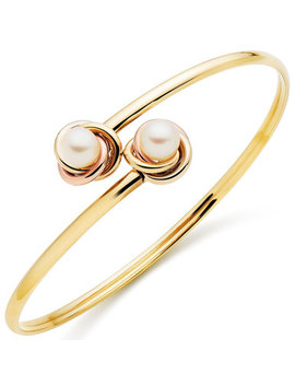 9ct Two Colour Gold Freshwater Cultured Pearl Bangle by Beaverbrooks