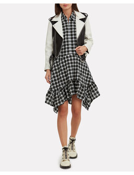 Heavy Leather Black And White Combo Jacket by Ganni