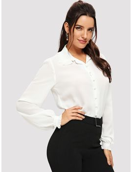 Button Front Ruffle Collar Top by Shein