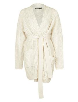 Chunky Cable Knit Cardigan by Boohoo
