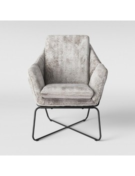 Massey Faux Fur Metal Base Accent Chair Light Gray   Project 62™ by Project 62