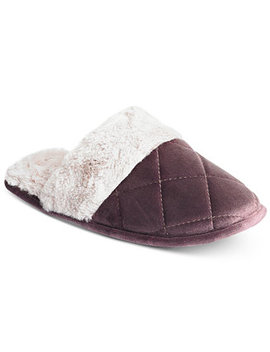 Quilted Microvelour Scuff Slippers, Created For Macy's by Charter Club