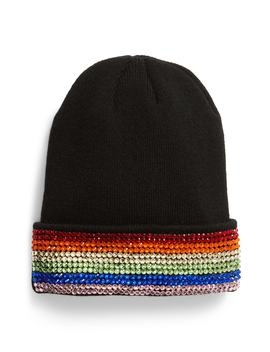 Rainbow Crystal Embellished Beanie by Tasha
