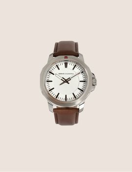 Faceted Brown Leather Strap Watch by Armani Exchange