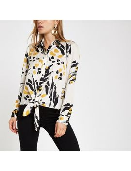 Cream Print Tie Front Long Sleeve Shirt by River Island