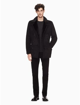 Faux Shearling Peacoat by Calvin Klein