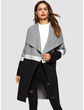 Drape Collar Color Block Coat by Shein