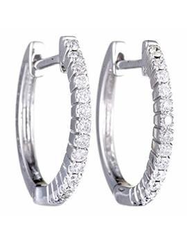 14 K White Gold Diamond Hoop Huggies Earrings .27 Carat (0.27 Ctw) Diamonds by Luxury Bazaar