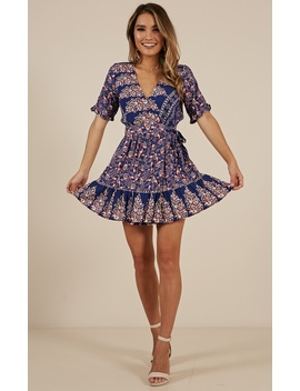 On The Move Dress In Navy Print by Showpo Fashion