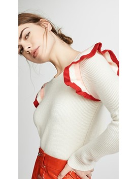 Stripe Frill Cashmere Sweater by Chinti And Parker