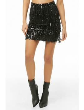 Sequin Fringe Mini Skirt by Forever 21