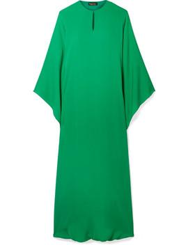 Draped Silk Georgette Midi Dress by Reem Acra
