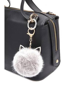 Cat Ear Pom Pom Puff Keychain by Forever 21