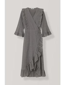 Seersucker Check Wrap Dress by Ganni