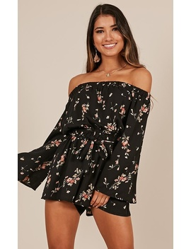 Not A Flare Playsuit In Black Floral by Showpo Fashion