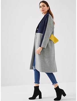 Cut And Sew Pocket Side Coat by Shein