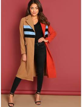 Color Block Longline Coat by Shein