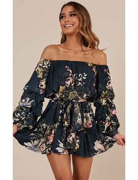 Leave With Me Dress In Navy Floral by Showpo Fashion