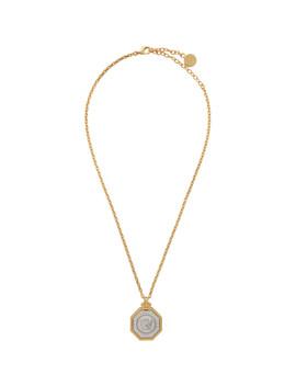 Gold Octogonal Medusa Head Necklace by Versace