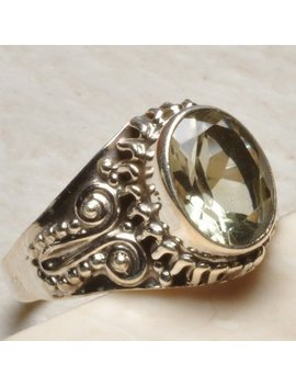 Elegant Green Amethyst Ring In 100 Percents 925 Sterling Silver Sz 8.75 by Etsy