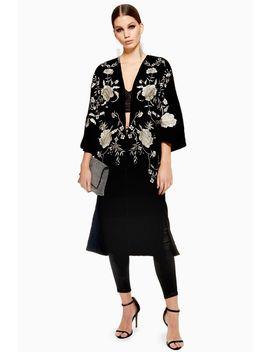 Longline Velvet Kimono by Topshop