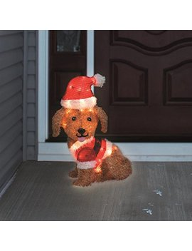 "24"" Tinsel Dog In Santa Suit Christmas Decoration by Product Works"