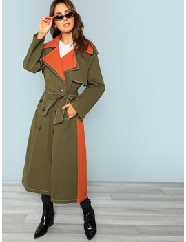 Belted Cuff Trench Coat by Shein