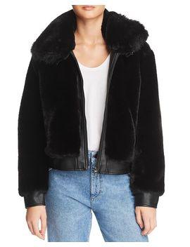 Faux Fur & Faux Leather Coat by Blanknyc