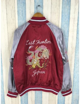Sukajan Dragon Tiger Souvenir Jacket Xlarge Vintage 80's Sukajan Tokyo Japan Embroidery Satin Jacket Red Souvenir Light Jacket Size Xl by Etsy