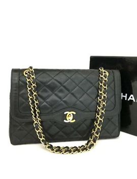 Vintage Chanel Paris Limited Double Flap Quilted Lambskin Shoulder Bag /Dd807 by Chanel