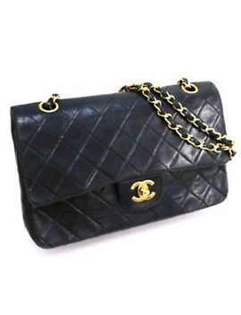 Auth Chanel Quilted Matelasse 25 Lambskin Double Chain Flap Shoulder Bag A01112 by Chanel
