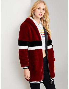 Zip Up Striped Faux Fur Coat by Shein