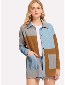 Color Block Corduroy Coat by Sheinside
