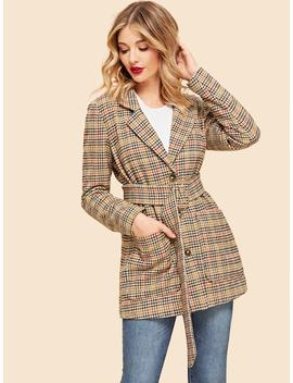 Houndstooth Belted Coat by Shein
