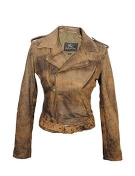 Sid Women's Lambskin Leather Biker Black Jacket by Sid