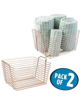 M Design Storage Basket Bin With Built In Handles For Organizing Hand Soaps, Body Wash, Shampoos, Lotion, Conditioners, Hand Towels, Hair Accessories, Body Spray, Mouthwash � Large, Pack Of 2, Copper by M Design
