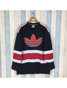 Adidas Trefoil Sweater Hip Hop Large Multicolour Vintage 90's Adidas Run Dmc Three Stripes Sportswear Adidas Jumper Sweatshirt Size L by Etsy