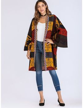Graphic Print Open Front Coat by Sheinside