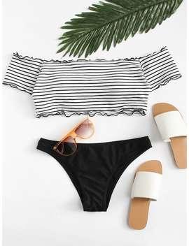 Lettuce Edge Mix And Match Bardot Bikini Set by Shein