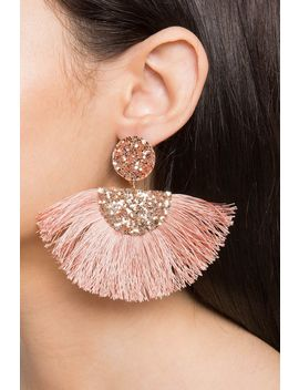 Glitter Fan Fringe Drop Earring by A'gaci