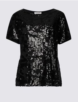 Sparkly Round Neck Short Sleeve Top by Marks & Spencer