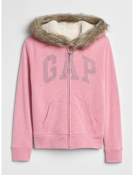 Fur Trim Logo Sherpa Hoodie Sweatshirt by Gap